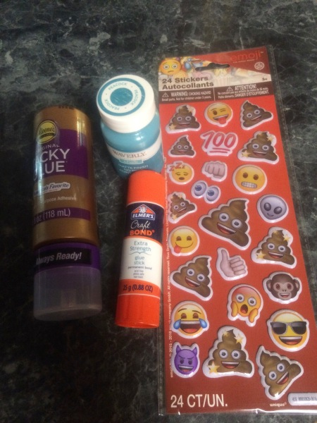 Tacky glue, a glue stick that means business, tactile emoji stickers, and peacock blue chalk paint!